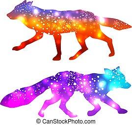 silhuetas, galáxia, efeito, raposas, fundo, espaço