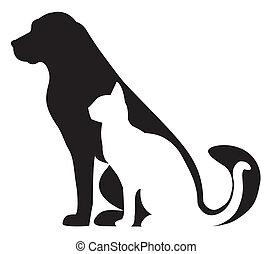 silhuetas, gato, composição, cão