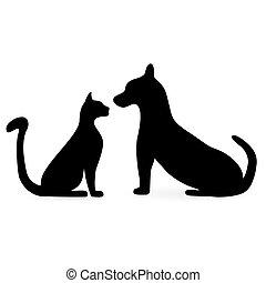 silhuetas, gatos, cachorros