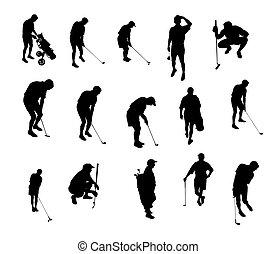 silhuetas, golfe, tocando