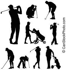 silhuetas, golfer, cobrança