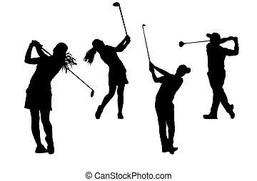 silhuetas, golfers, cobrança