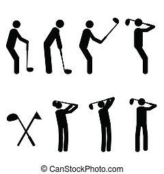 silhuetas, golfing, homem