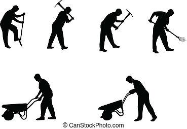 silhuetas, homem, trabalhando