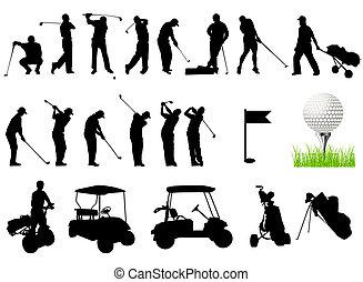 silhuetas, homens, golfe, tocando