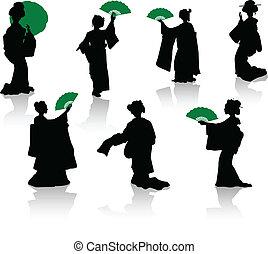 silhuetas, japoneses, dançarinos