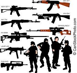 silhuetas, jogo, automático, armas