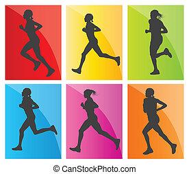 silhuetas, jogo, corredores maratona, homem