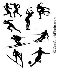 silhuetas, jogo, -, esportes