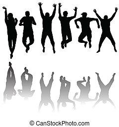 silhuetas, jogo, jovem, pular, pessoas