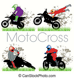 silhuetas, jogo, motocross