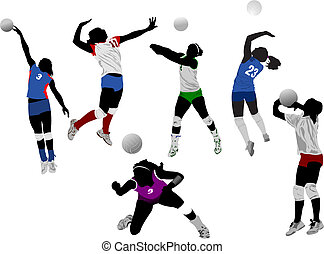 silhuetas, jogo, voleibol, mulheres