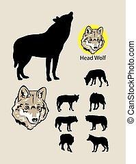silhuetas, lobo, logotipo