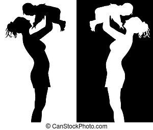 silhuetas, mãe, criança