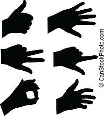silhuetas, mãos
