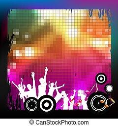silhuetas, música, fundo, dançar