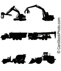 silhuetas, maquinaria construção