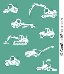 silhuetas, maquinaria, estrada