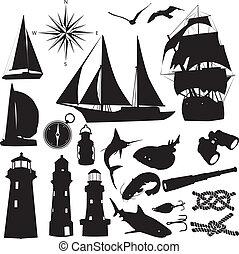 silhuetas, marinho, recreação