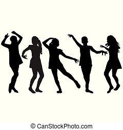 silhuetas, meninas, dançar