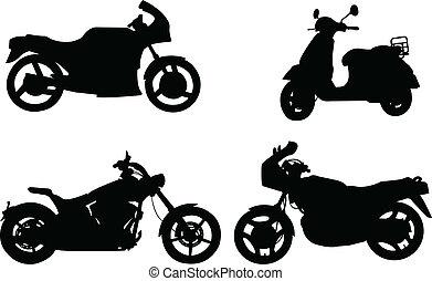 silhuetas, motocicletas