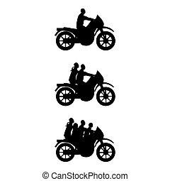 silhuetas, motorbi, pessoas