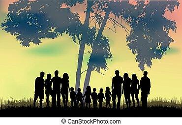 silhuetas, nature., família