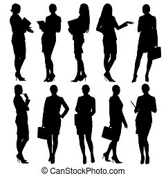 silhuetas, negócio mulher