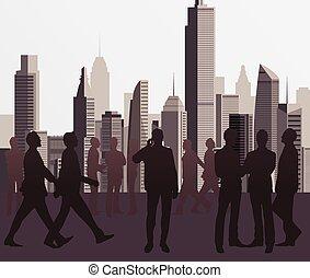 silhuetas, negócio, pessoas