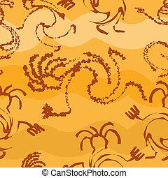 silhuetas, padrão, primitivo, seamless, pessoas