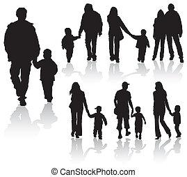 silhuetas, pais, crianças