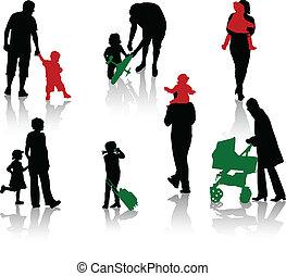 silhuetas, pais, isolado