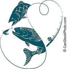 silhuetas, peixe, pesca