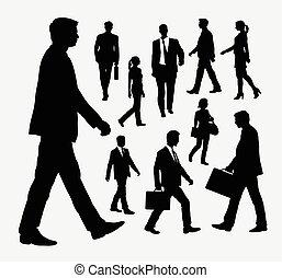 silhuetas, pessoas andando
