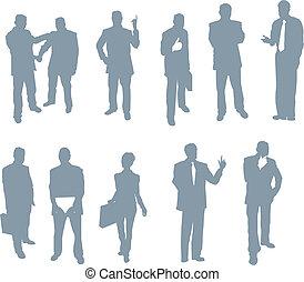 silhuetas, pessoas, escritório, negócio