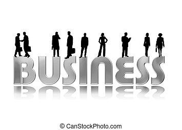 silhuetas, pessoas negócio