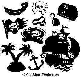 silhuetas, pirata, cobrança