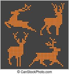 silhuetas, pixel, deers