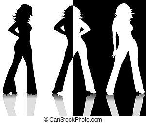 silhuetas, pretas, branca, femininas