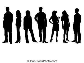 silhuetas, pretas, branca, pessoas