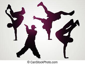 silhuetas, pretas, breakdancers