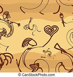 silhuetas, primitivo, seamless, textura, pessoas