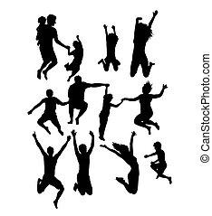 silhuetas, pular, família, feliz