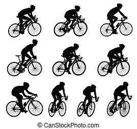 silhuetas, raça, ciclistas