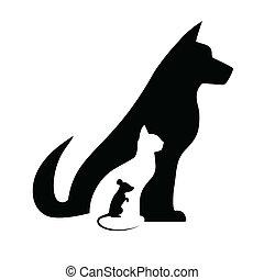 silhuetas, rato, cão, gato