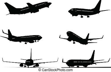 silhuetas, seis, avião