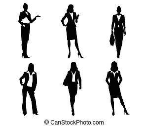 silhuetas, seis, mulheres negócios