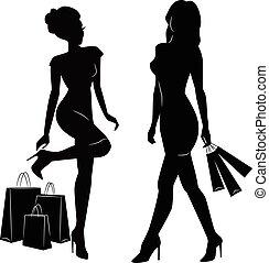 silhuetas, shopping, mulheres