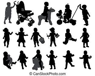 silhuetas, toddler, cobrança