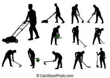 silhuetas, trabalho, jardinagem